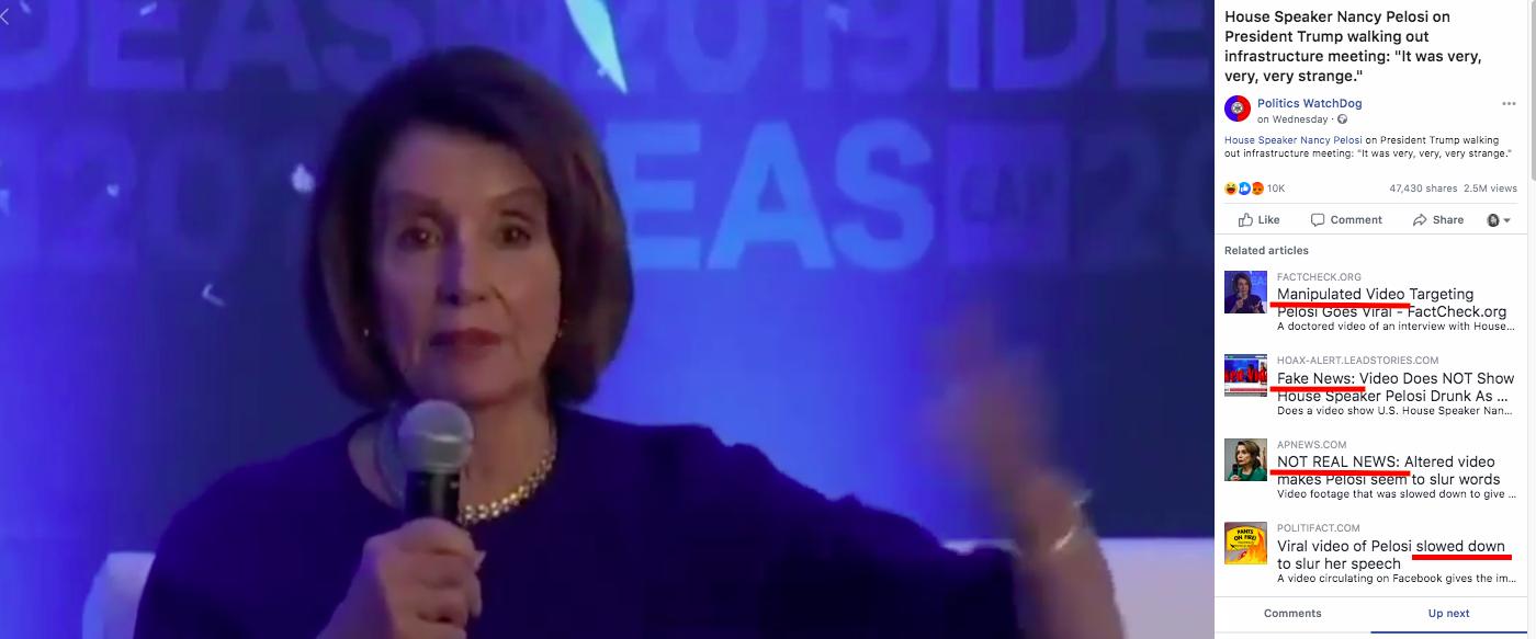 Po weryfikacji fact-checkerów wideo z Pelosi powiązano z innymi fałszywymi materiałami