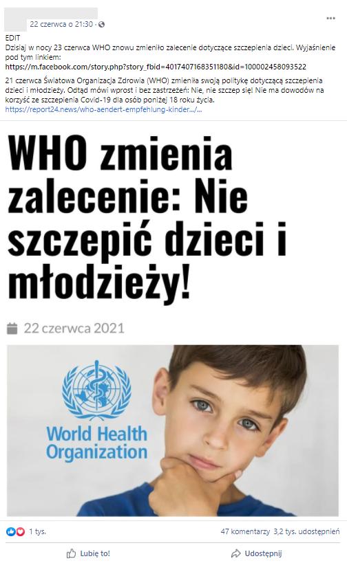 Jeden z postów z informacją, że WHO zmieniła zalecenie co do szczepienia dzieci i młodzieży