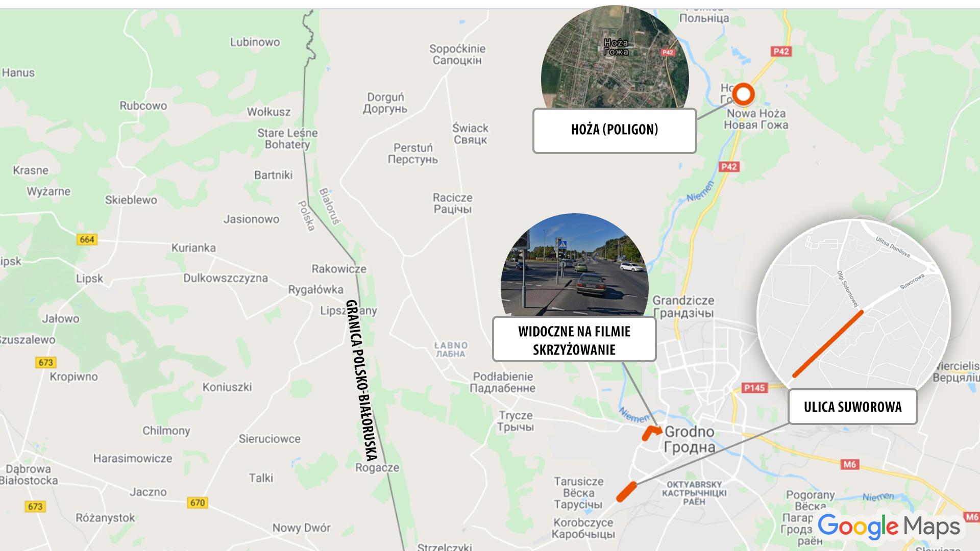 Ulica Suworowa w Grodnie; kierunek skrętu kolumny z ulicy Sołomowej w ulicę Radzieckich Pograniczników; miejscowość Hoża