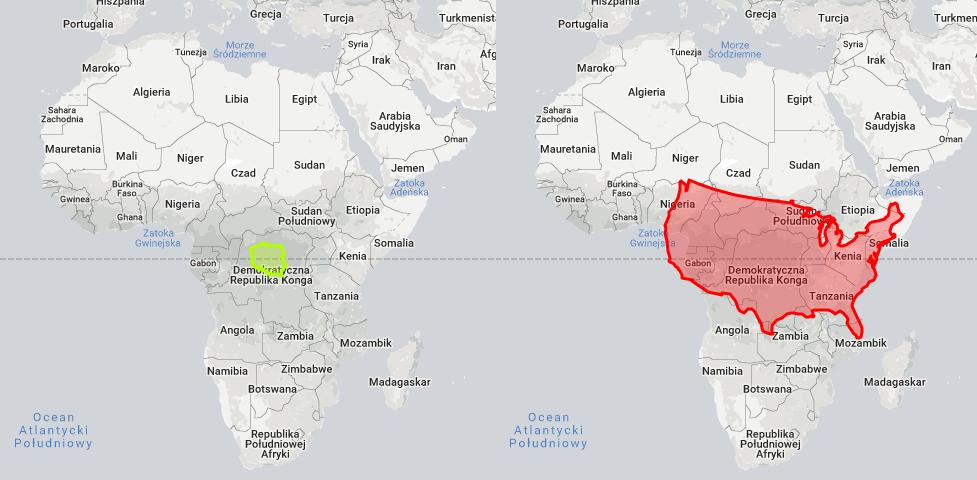 Porównanie powierzchni Polski i Stanów Zjednoczonych z powierzchnią Afryki