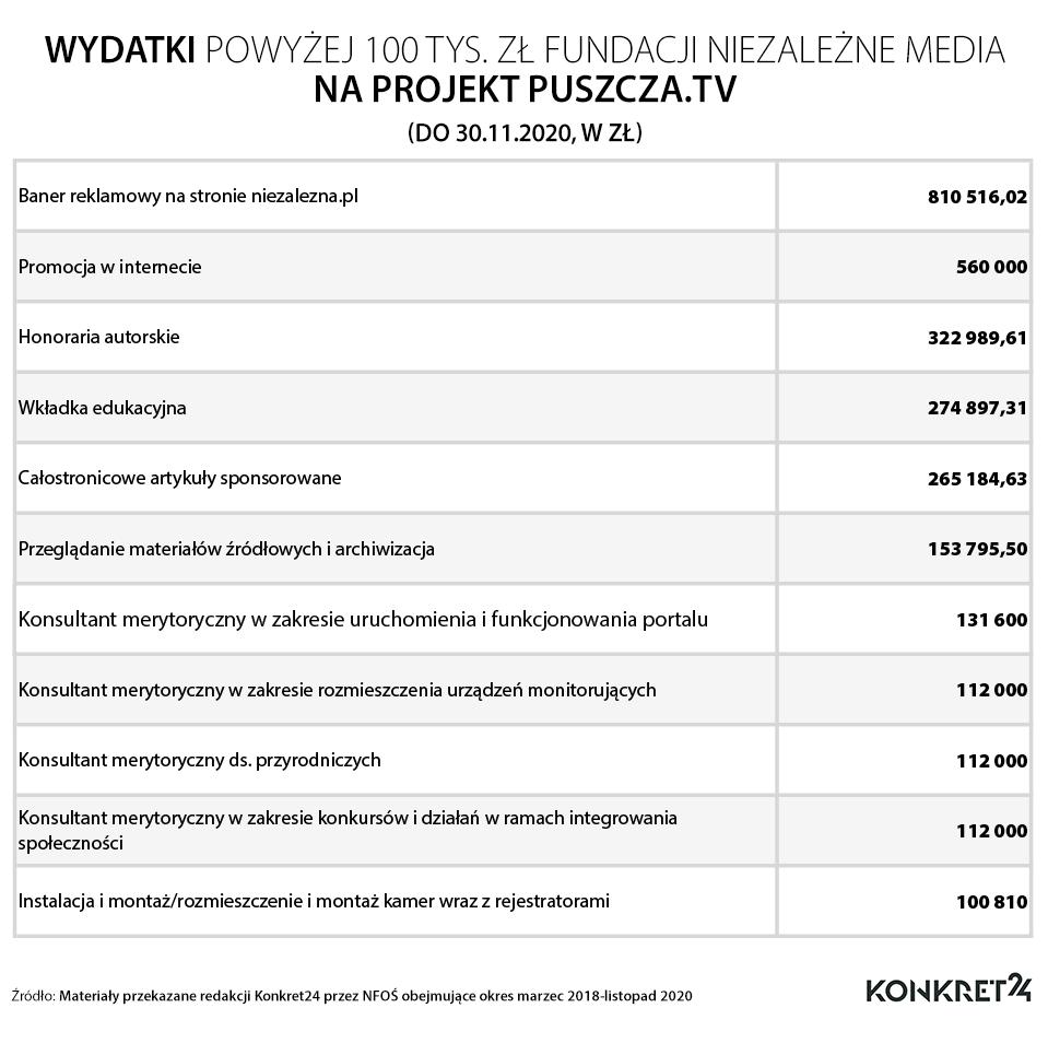 Wydatki powyżej 100 tys. zł Fundacji Niezależne Media na projekt Puszcza.tv