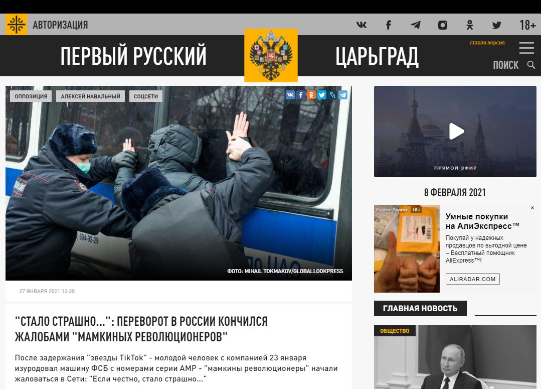 Fragment artykułu opublikowanego na stronie tsargrad.tv