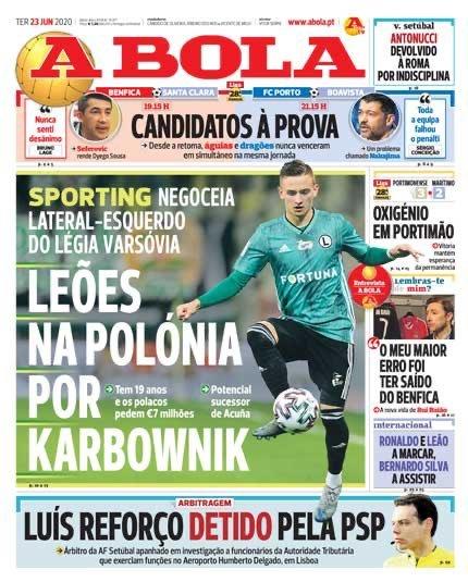 """Jedynka portugalskiego dziennika """"A Bola"""" z informacją o piłkarzu Legii Warszawa"""