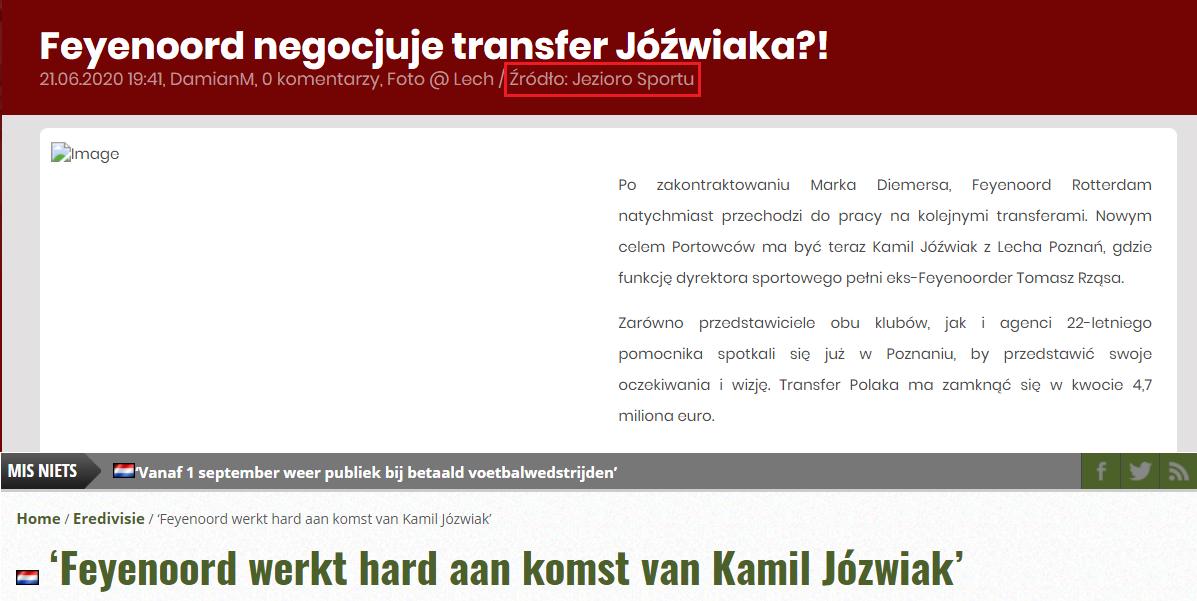 """Archiwalna wersja usuniętego artykułu i holenderski tekst """"Feyenoord ciężko pracuje nad sprowadzeniem Kamila Jóźwiaka"""""""
