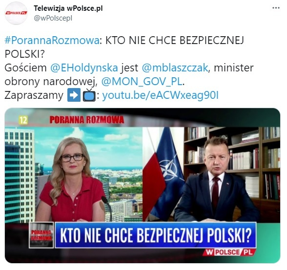 Minister obrony narodowej Mariusz Błaszczak o tym, gdzie będą stacjonowały czołgi Abrams, mówił 22 lipca  w Telewizji wPolsce.pl