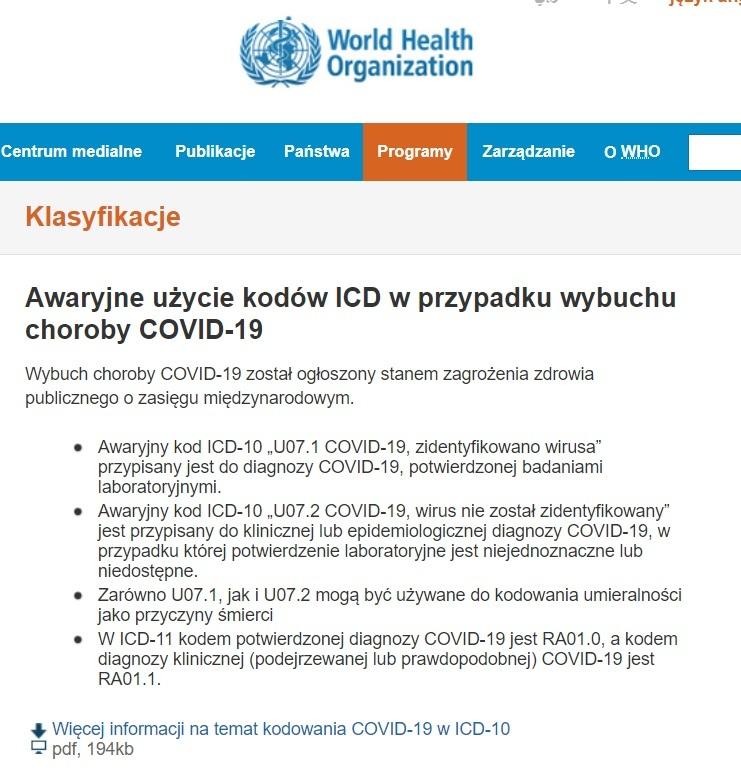 Kody zgonów na COVID-19 wg WHO