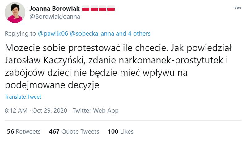 Wpis, który został opublikowany z konta posłanki Borowiak