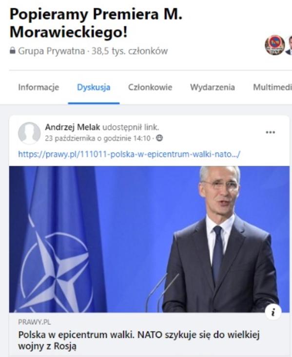Konto Andrzeja Melaka udostępniło link do tekstu ze strony prawy.pl