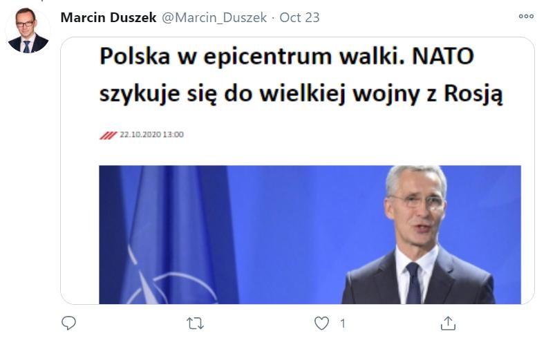 Wpis z linkiem wysłany z konta posła Duszka