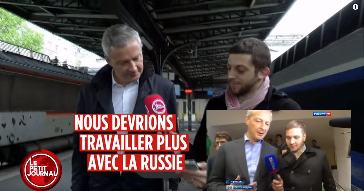 Kadr z materiału Canal+ o publikacji rosyjskiej telewizji NTV