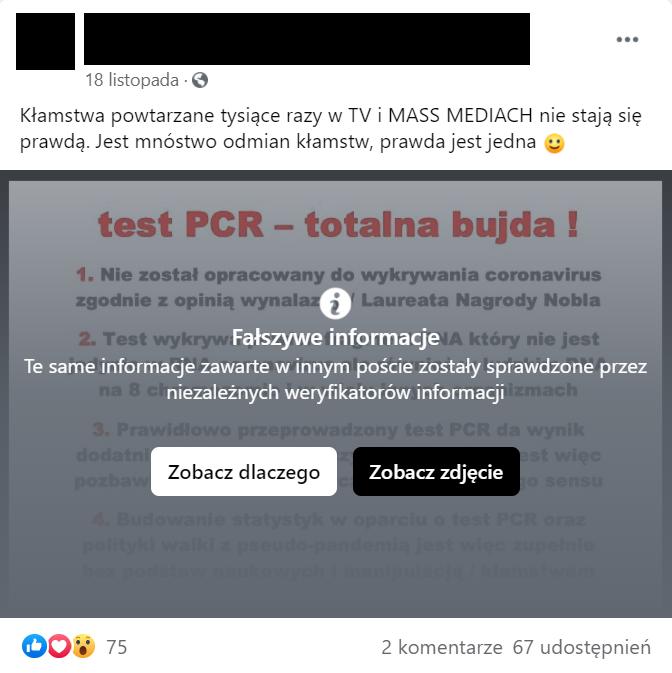 Przykład oznaczonej przez Facebooka nieprawdziwej grafiki o testach PCR