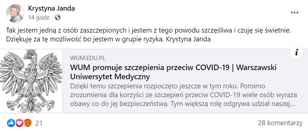 Wpis Krystyny Jandy na Facebooku
