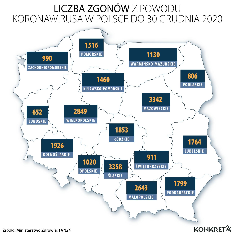 Liczba zgonów z powodu koronawirusa w Polsce do 30 grudnia 2020